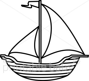 Black and White Boat Clipart.
