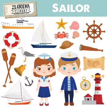 Sailor Clipart Nautical graphics Ship Yacht Sailboat clipart Captain Sea  Ocean.