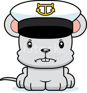 Cartoon Angry Boat Captain Mouse Clipart Image.