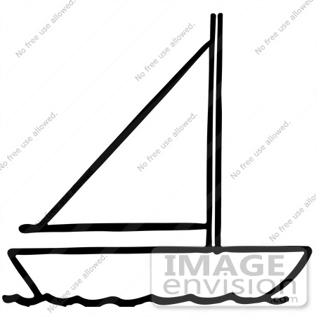Clipart Of A Sailboat In Black And White.