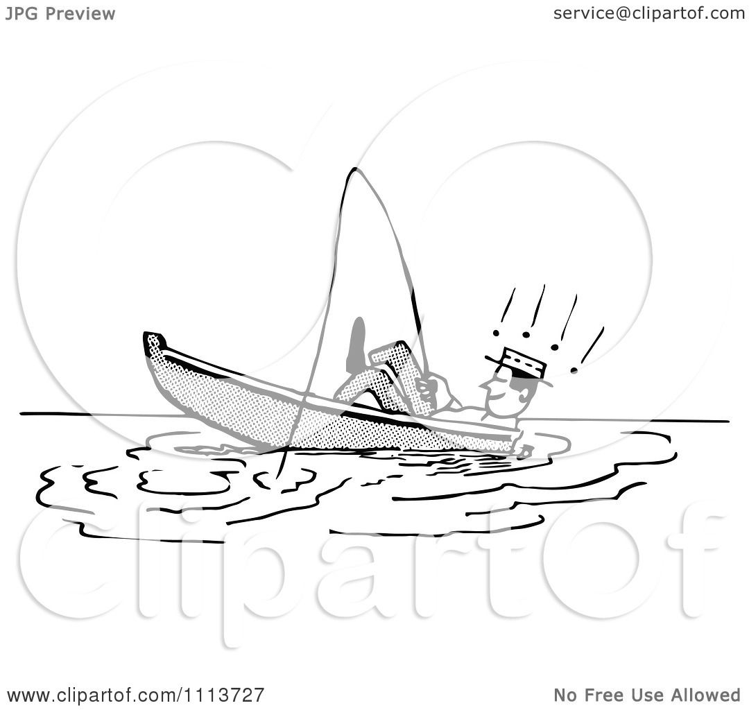 Clipart Retro Black And White Man Leaning Back In A Boat While.