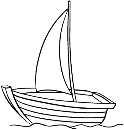 Sailing Boat Clipart Outline.