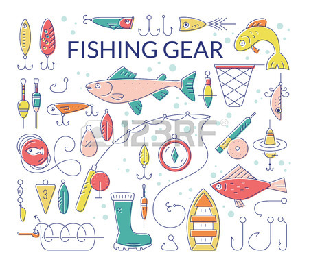 Collection Of Fishing Equipment Made In Vector. Trout, Salmon.