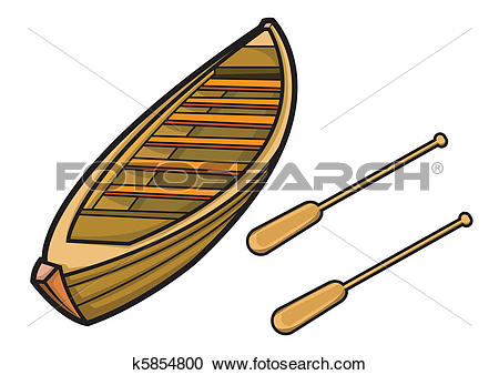 Clipart of Boat with Paddle in Vector Illustration k5854800.