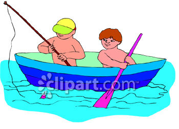 Two Little Boys Fishing From a Row Boat.