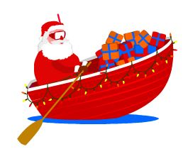 nog een nieuwe versiering voor je kerstkaart/ santa in a boat.