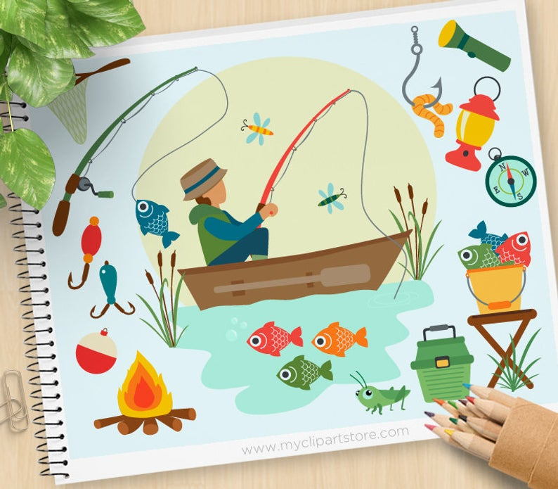 Fishing Clipart, Father's day, fishing boat, fishing rod, tackle, camping,  fisherman, Personal and Commercial Use Vector Clip Art, SVG Files.