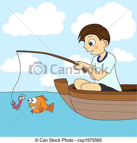 Boy Fishing In A Boat.