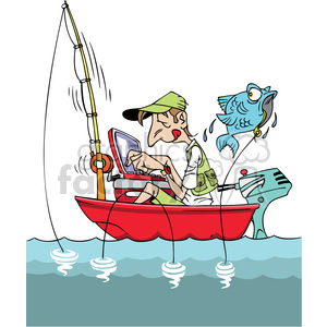 cartoon man fishing in a small boat with laptop clipart. Royalty.
