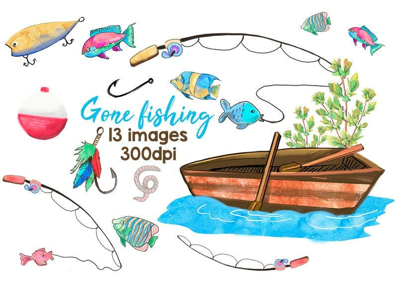 Fishing Clipart Watercolor Fishing Clip Art Lures Boat Fishing Supplies  Fishing Items Fishing Rods Feather Lure Gone Fishing Cliparts.