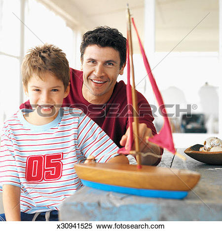 Stock Image of front view portrait of father and son (8.