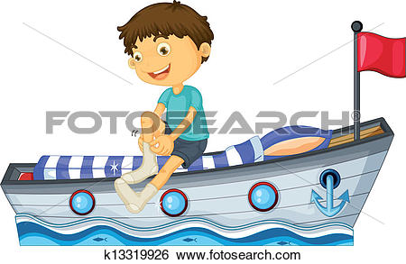 Clip Art of A boy sitting in the boat fixing his sock k13319926.