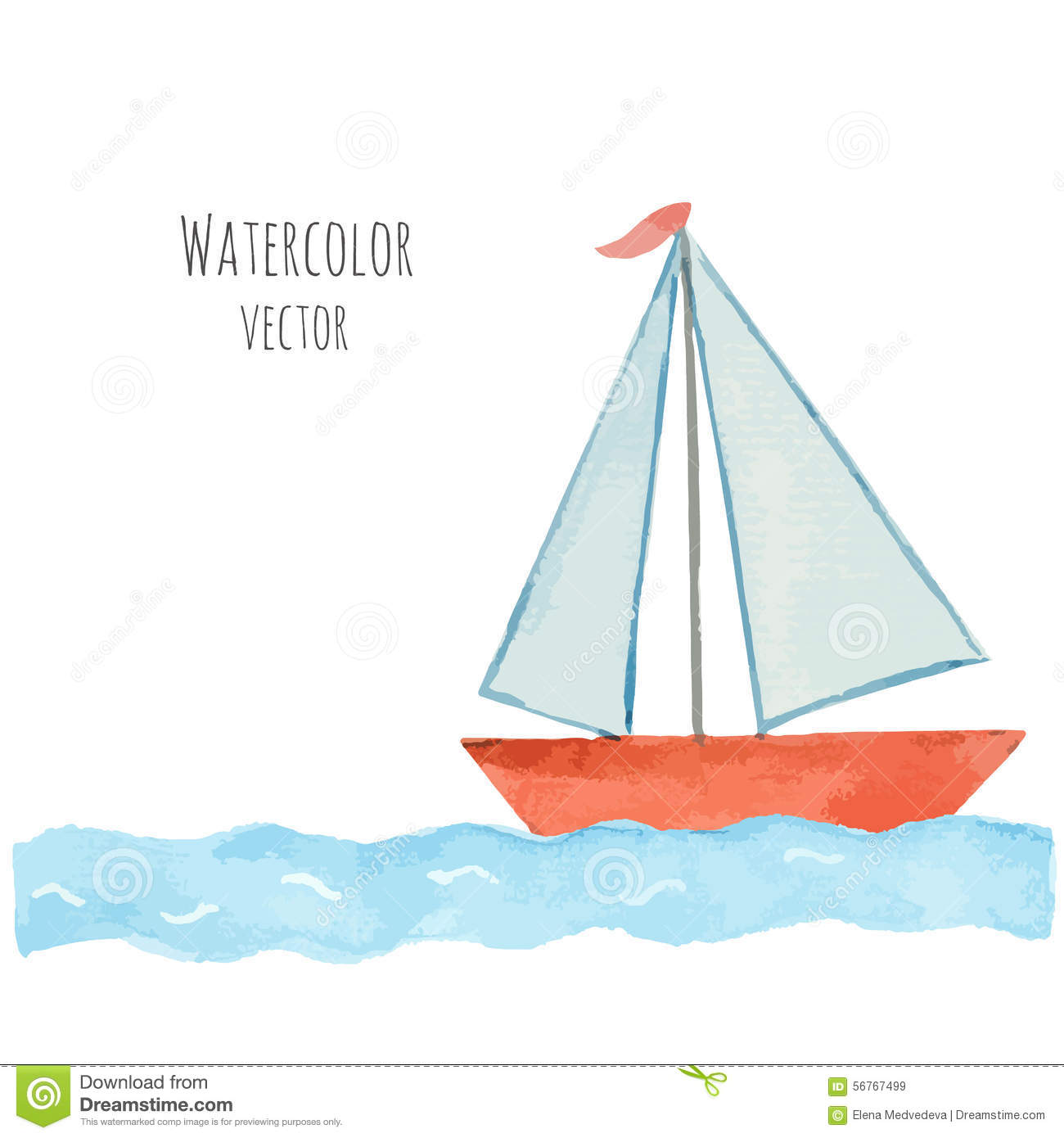 Watercolor Boat With A Flag On The Blue Waves Stock Vector.