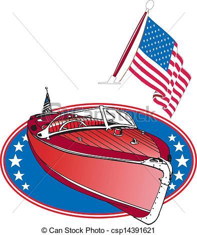 Vector Illustration of Wooden Speed Boat.