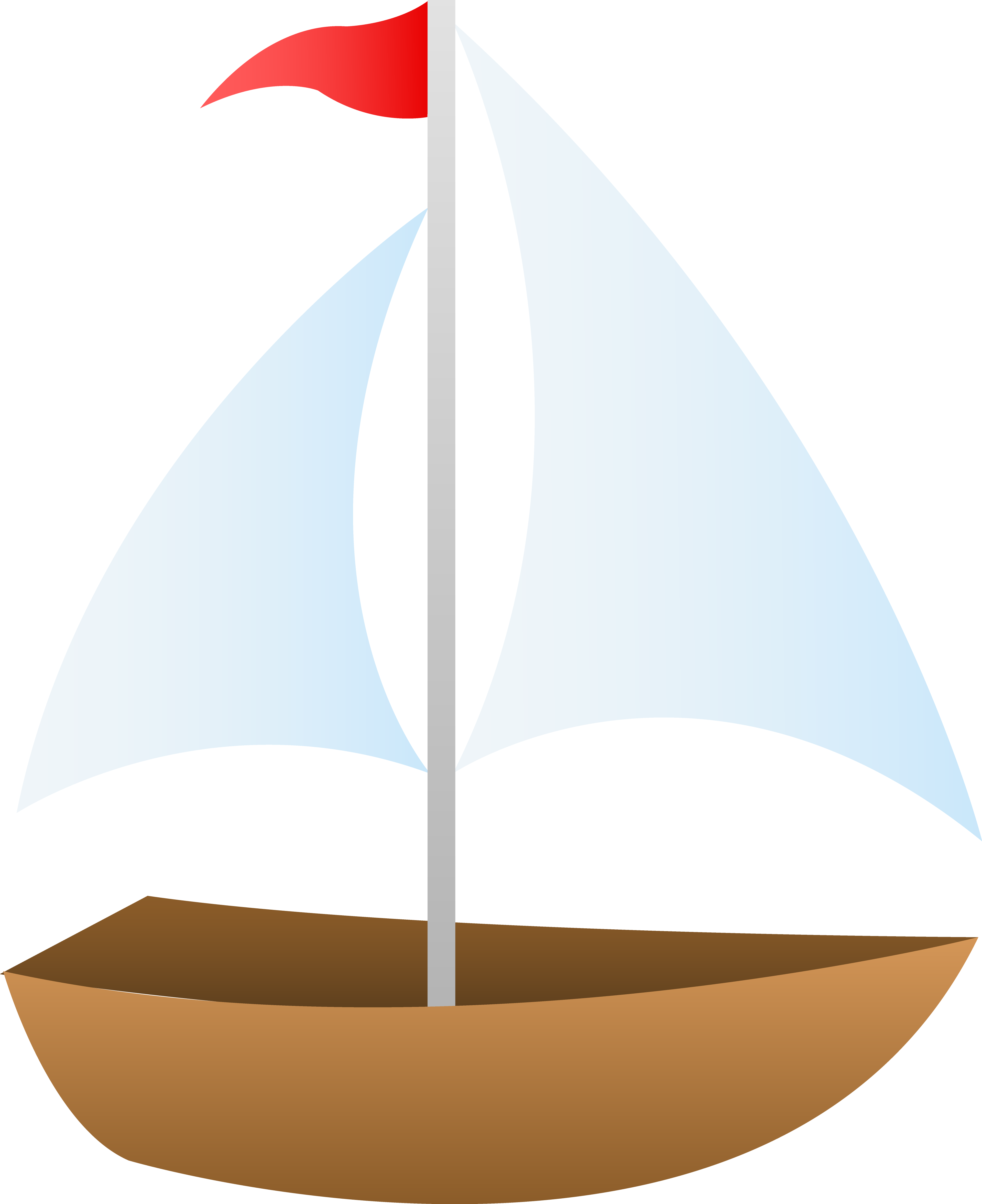 Little Sailboat With Red Flag.