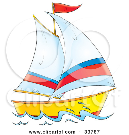 Clipart Illustration of a Sailing Boat With White, Red And Blue.