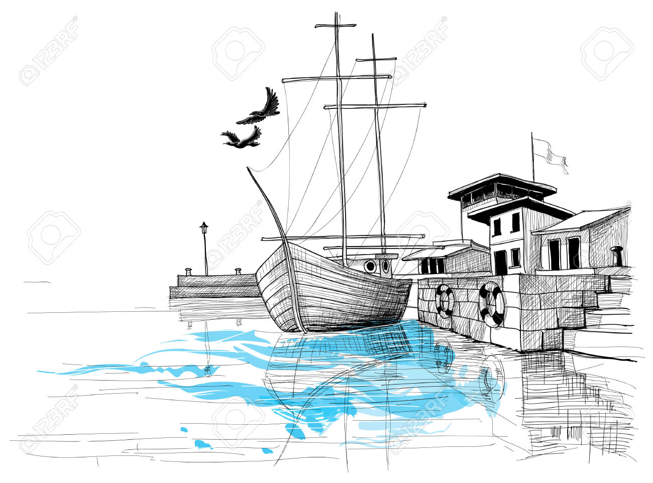 Harbor Sketch, Boat On Shore Illustration Royalty Free Cliparts.