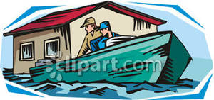 Men In a Boat Near a Flooded House.