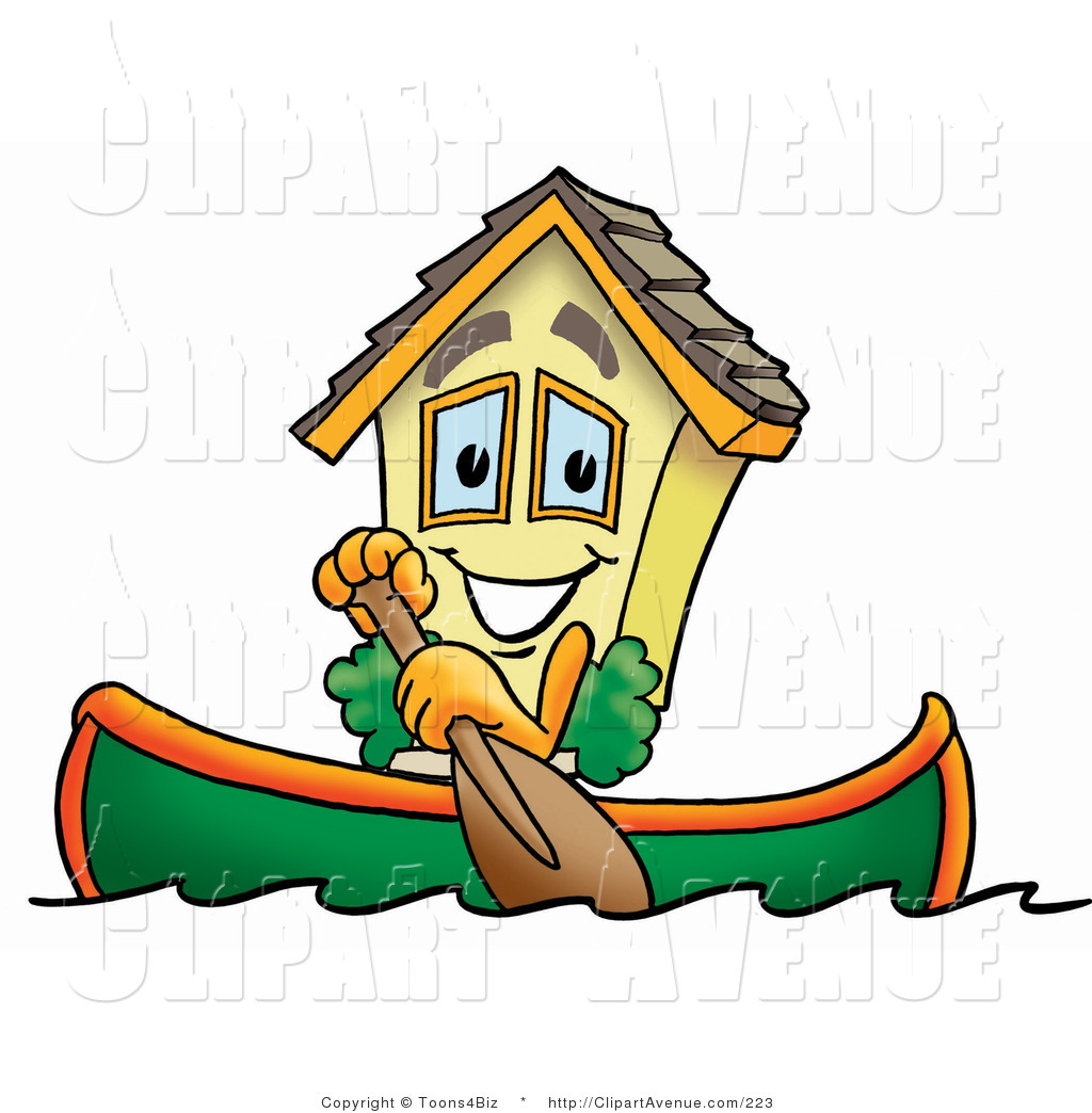 Avenue Clipart of a Yellow House Mascot Cartoon Character Rowing a.