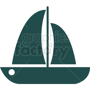 aqua sail boat icon design no background clipart. Royalty.