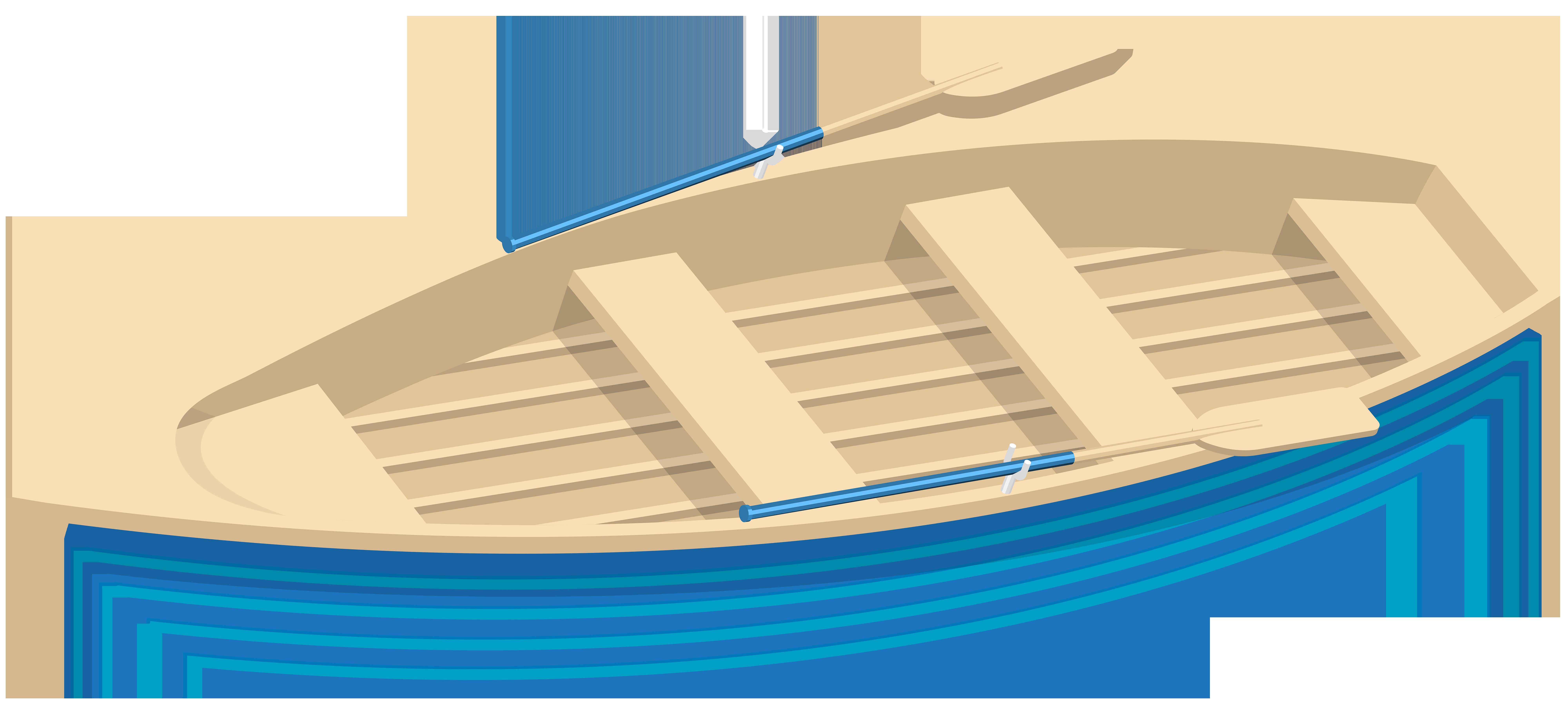 Blue Boat Transparent Clip Art Image.