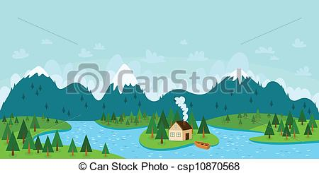 Clip Art Vector of Landscape vector illustration with mountains.