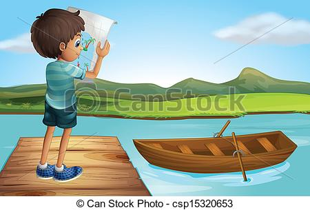 Clipart Vector of A boy at the river with a wooden boat.