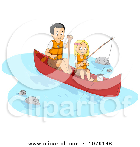 Clipart Father And Daughter Fishing And Boating On A River.
