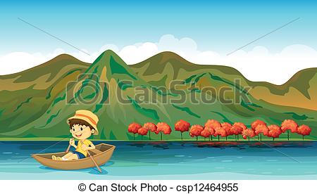 Clipart Vector of A river and a smiling boy in a boat.