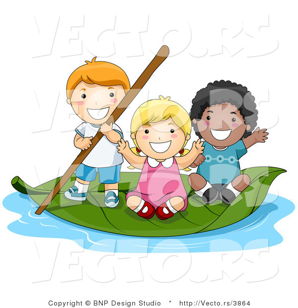 Vector of Group of 3 Happy Kids Floating on a Leaf Boat in a Small.