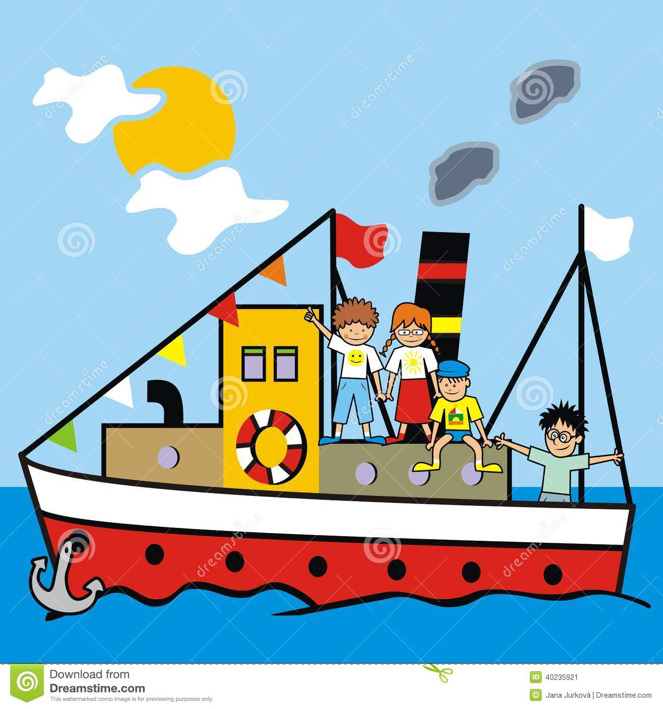 Boat And Kids Stock Vector.