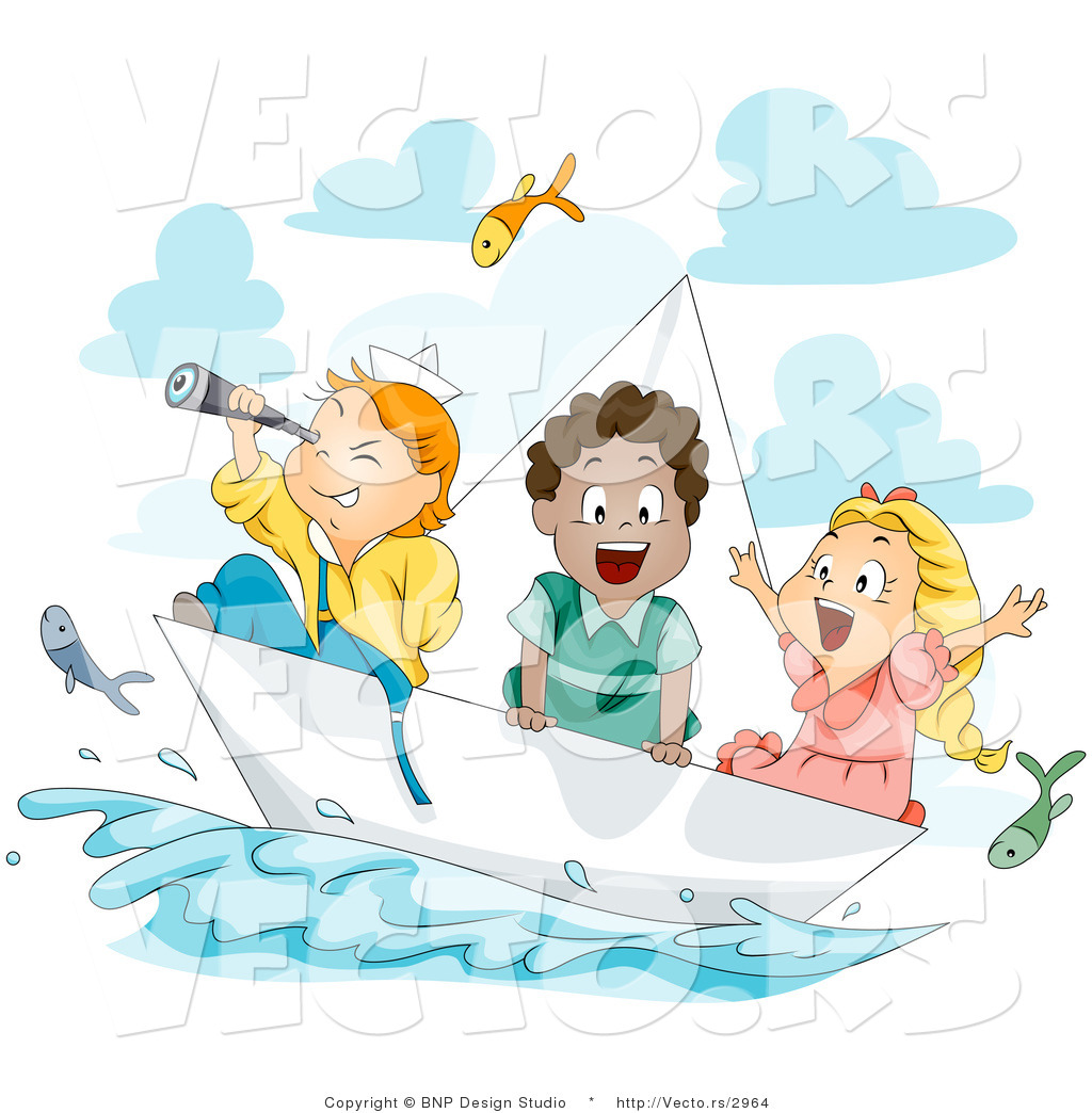 Boat In The Water For Kids Clipart.