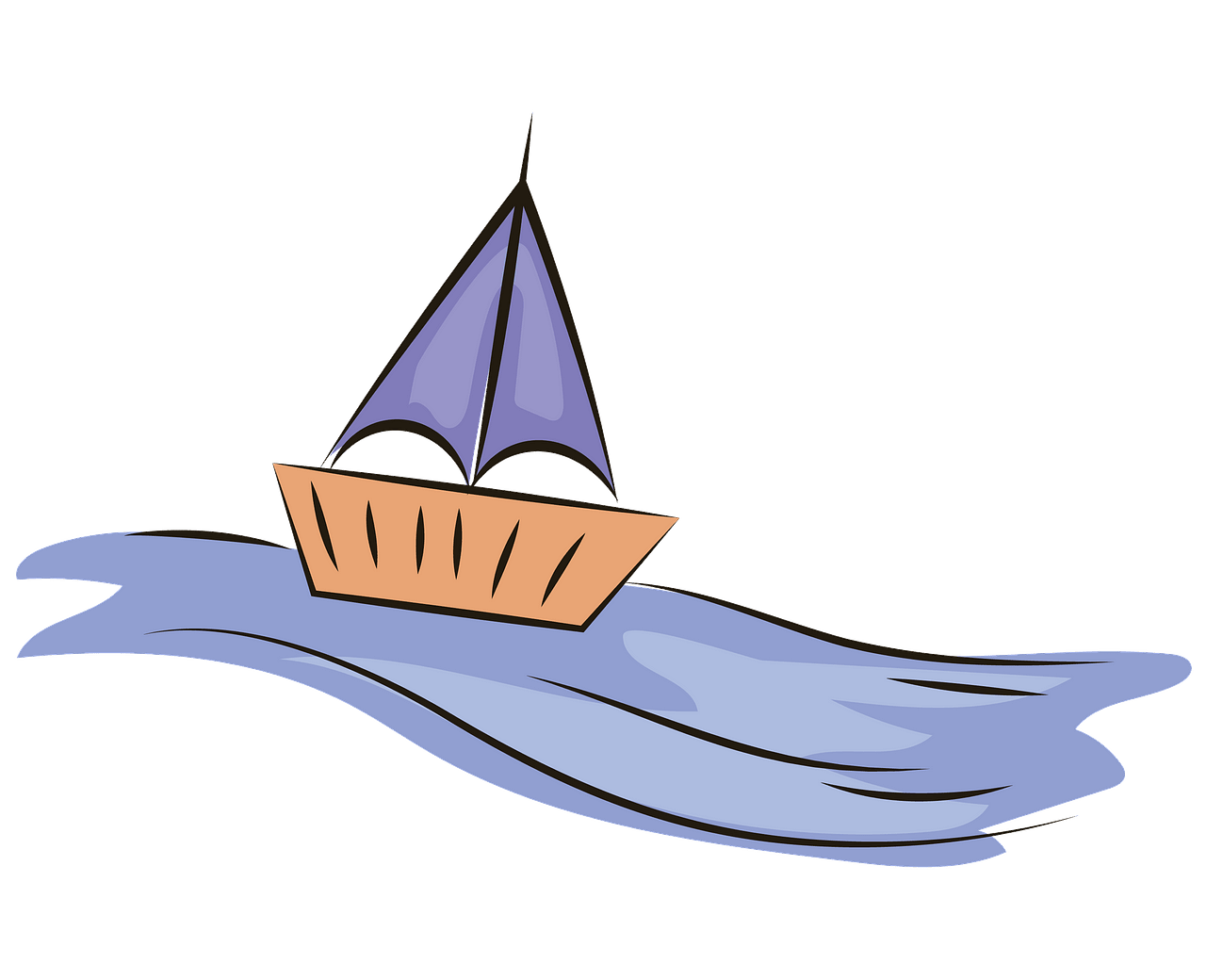 Toy boat on water clipart. Free download..
