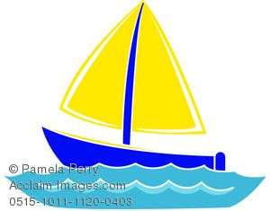 Clip Art Image of Cartoon Boat on Water.