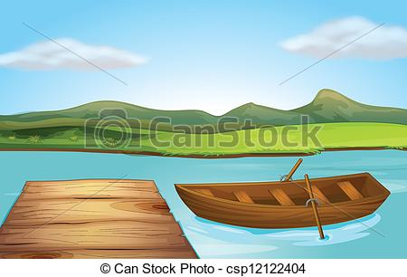Vector Clipart of A boat and a landing stage.