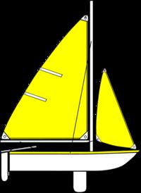 sail boat with long sail and mast.