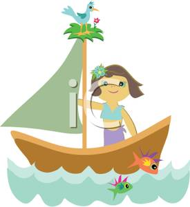 Girl Sailing a Sailboat with a Bird Roosting on Top of the Mast.
