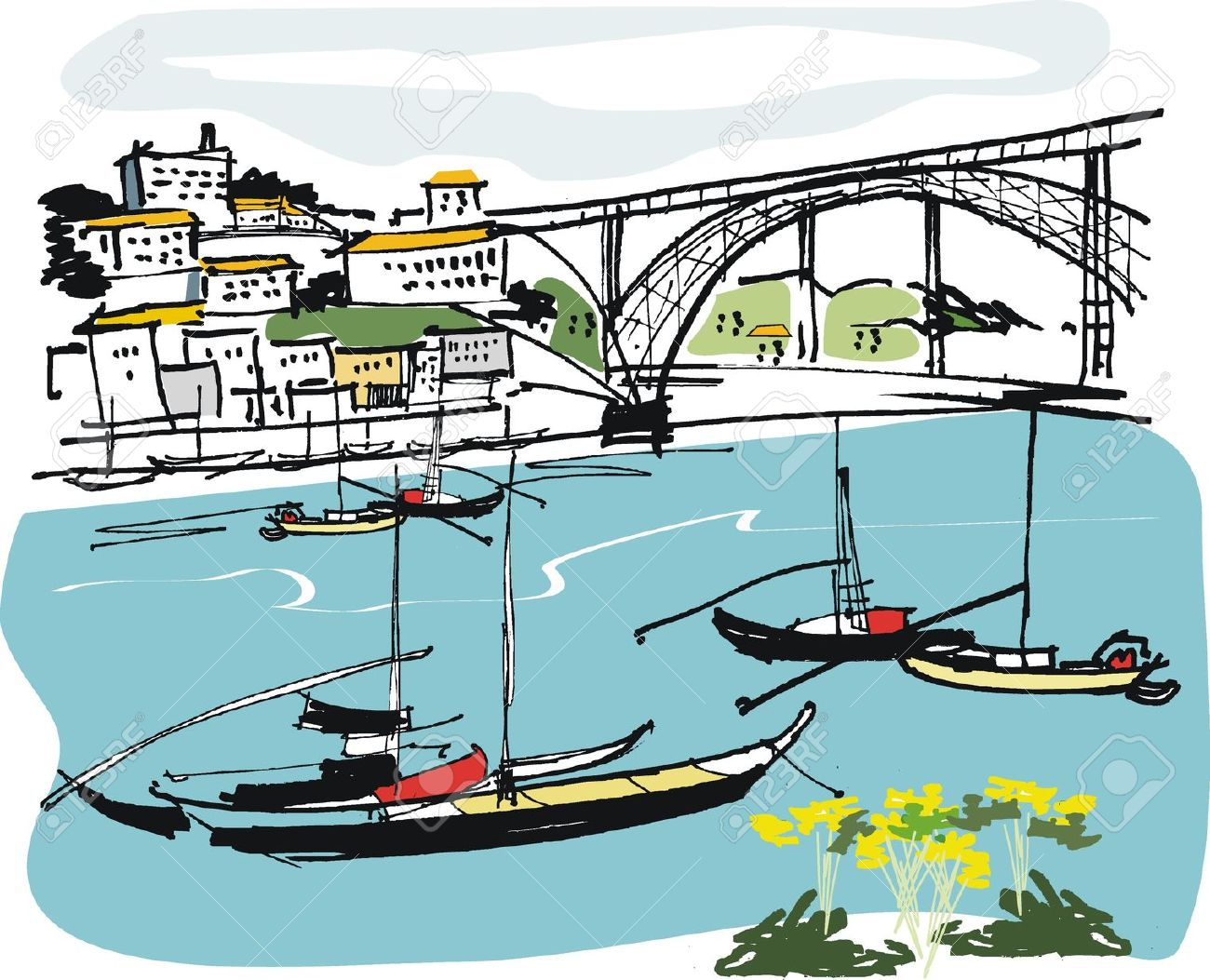 Vector Illustration Of Boats At Anchor, Oporto Portugal Royalty.