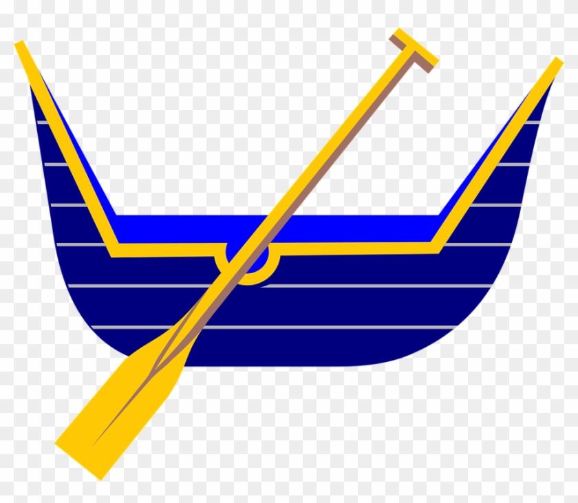 Blue Gold Boat Row Float Oar.