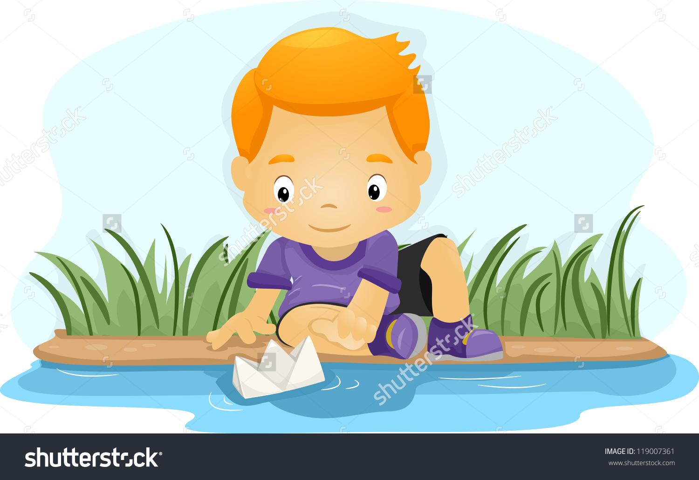 Illustration Boy Pushing Paper Boat Down Stock Vector 119007361.