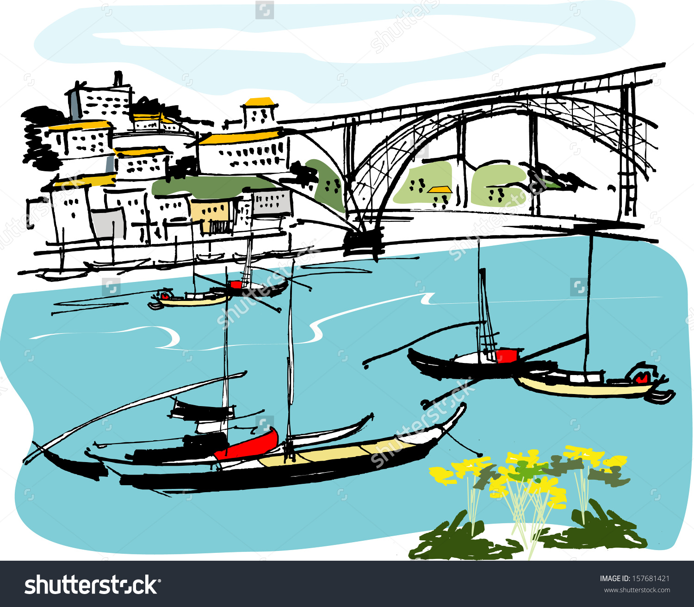 Vector Illustration Boats On River Bridge Stock Vector 157681421.