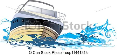 Vector Clip Art of ship at sea, boat on the river.