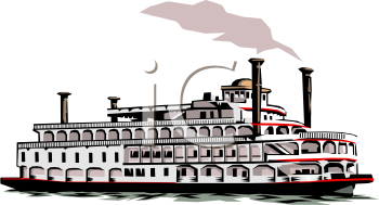 Royalty Free Clipart Image: Riverboat with Smoke Stacks.