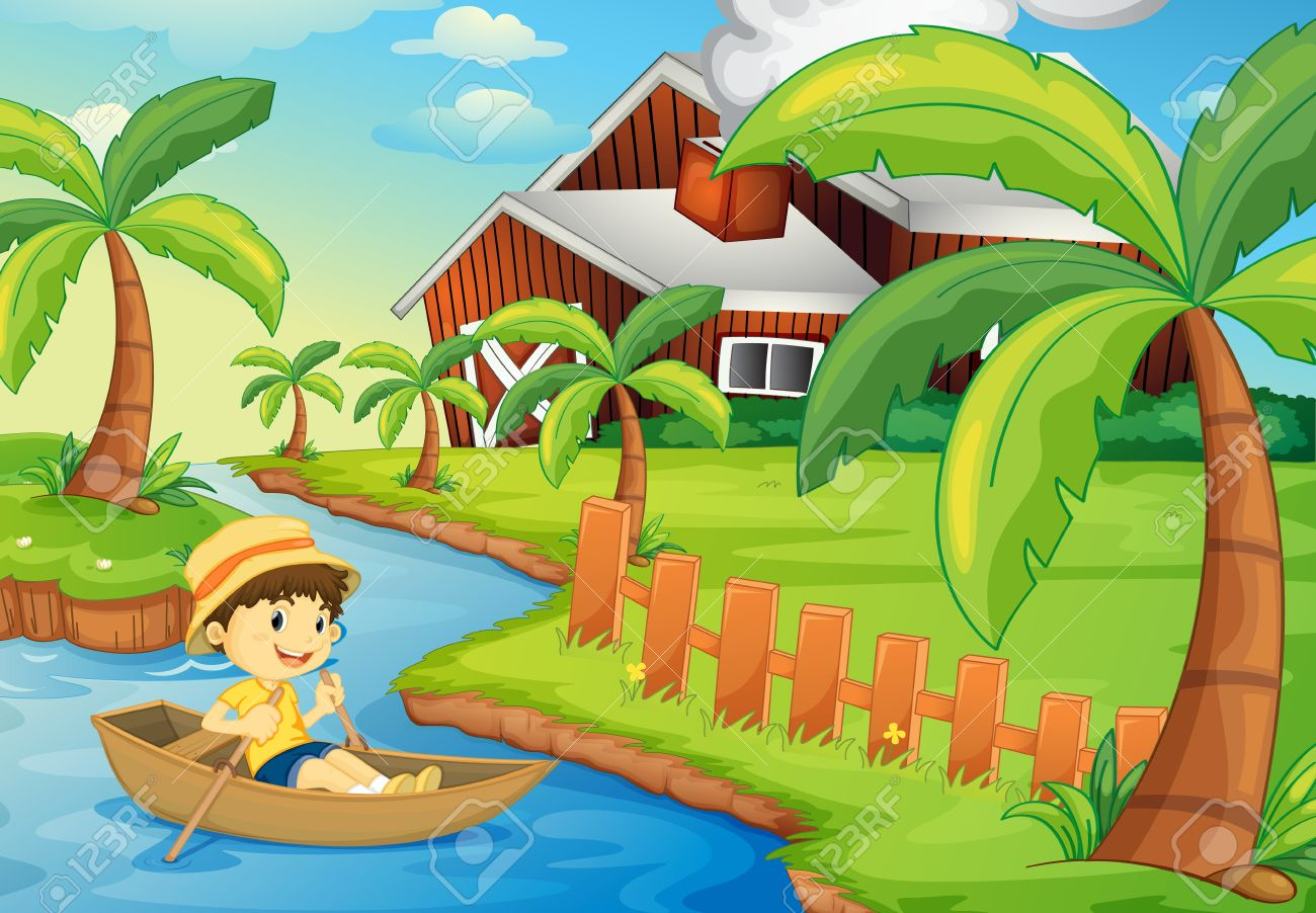 Illustration Of A Boy In A Boat At A Farm Royalty Free Cliparts.