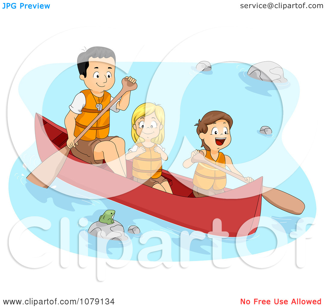 Clipart Father And Children Boating On A River.
