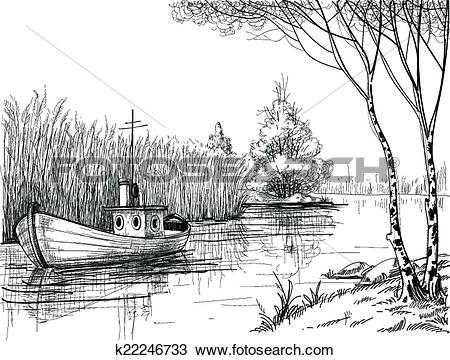 Clipart of Nature sketch, boat on river or delta k22246733.