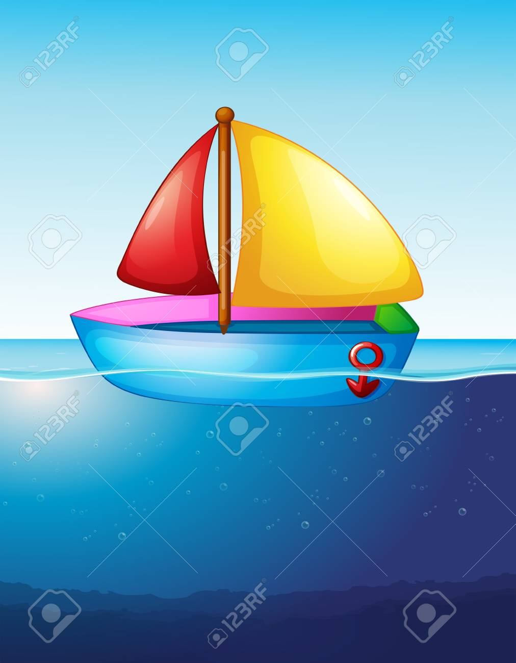 Toy boat floating on water illustration.