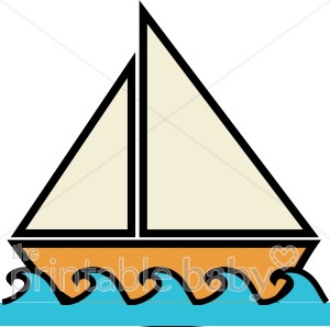 Boat on Water Clipart.