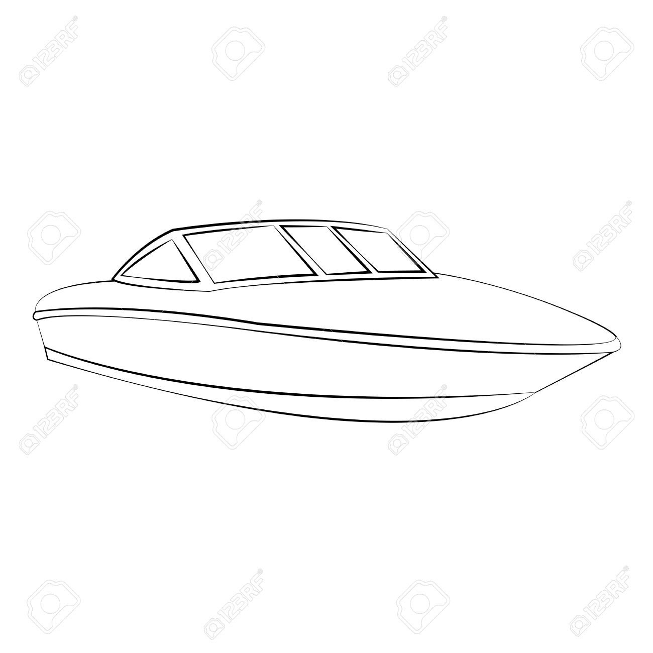 Black Outline Vector Boat On White Background. Royalty Free.