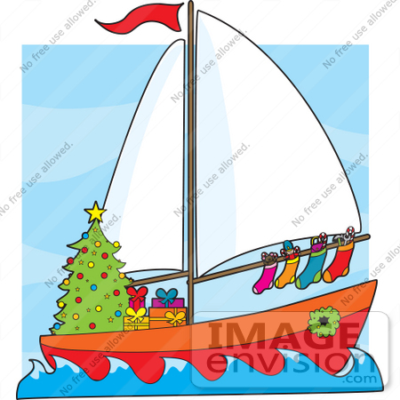 Christmas Clipart Of A Festive Sailor's Boat With A Christmas Tree.